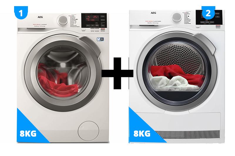AEG Wasmachine 8 kg + droger 8 kg