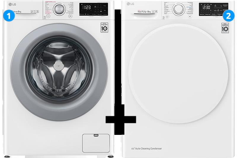 LG Wasmachine 9 kg + Wasdroger 8 kg