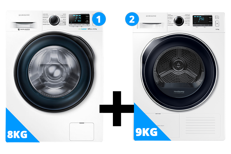 Samsung wasmachine 8 kg + droger 9 kg