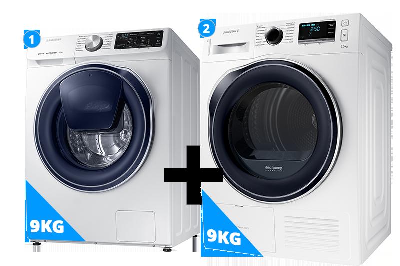 Samsung Quickdrive wasmachine 9 kg + droger 9 kg