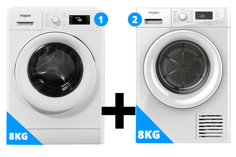 Whirlpool wasmachine 8 kg + droger 8 kg